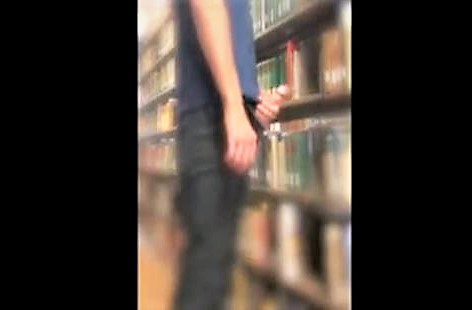 Student at library Wank off