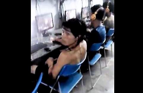Boner in Internet Cafe